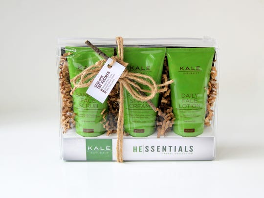 Kale Naturals shows a three-pack of skin care products for men. Co-founded by Dana Kale, Kale Naturals does not offer products with kale, but she and her partner hope to jump on that bandwagon soon. (AP Photo/Kale Naturals)