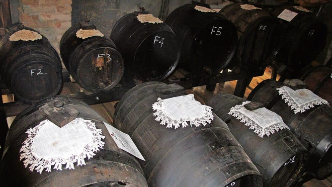 Barrels of aged Giusti balsamic vinegar.