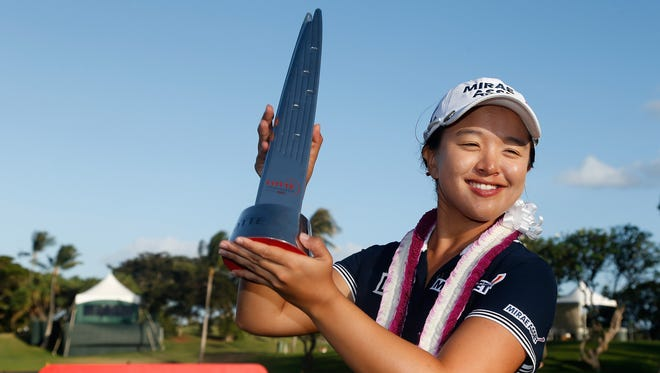 Sei Young Kim of South Korea poses with the Lotte trophy after winning in the final round of the LPGA LOTTE Championship Presented By Hershey at Ko Olina Golf Club on April 18, 2015 in Kapolei, Hawaii.