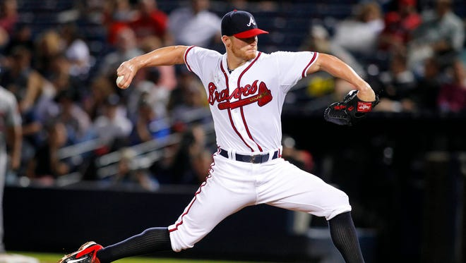 Atlanta Braves starting pitcher Shelby Miller (17) throws a pitch against the New York Mets in the third inning at Turner Field last season.
