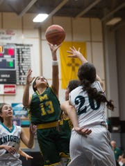 Mayfields's Raena Tesillo(13) shoots the ball during the second period of their game against Onate Tuesday.