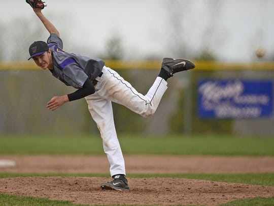 Denmark pitcher Riley Pelischek.