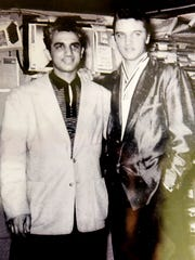 "An old photo of  Stan ""The Record Man"" Lewis' and Elvis"