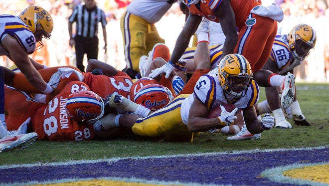 Florida stops LSU  running back Derrius Guice short of the goal line.