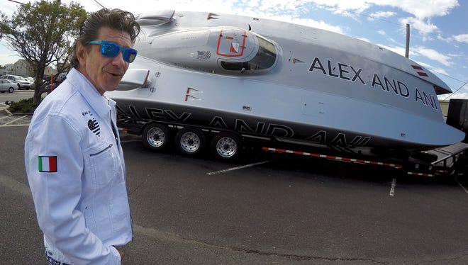 "Serafino ""Jimmy"" Cazzani is shown with the speed boat he throttles - ""Alex and Ani"" -  at Jack Baker's Wharfside Restaurant in Point Pleasant Beach Thursday, May 19, 2016.  He will be competing in Sunday's Point Pleasant Grand Prix."