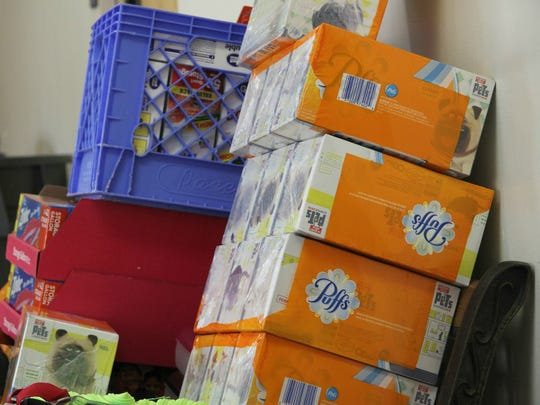 TownePlace donated supplies including boxes of Kleenex,