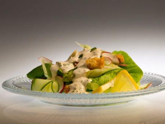Greenhouse Salad with Green Goddess Dressing, photographed