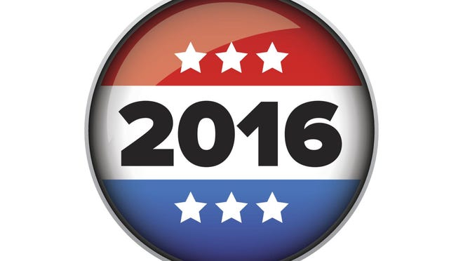 Vote 2016 badge or button vector