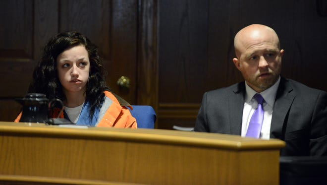Breanna Greathouse, left, sits next to her attorney Aaron Conrad Wednesday, March 21, 2018, in Fairfield County Common Pleas Court in Lancaster. Greathouse was in court to plead guilty to one county of robbery, a third-degree felony. Her sentencing date was scheduled for later in April after the trial of a co-defendant.