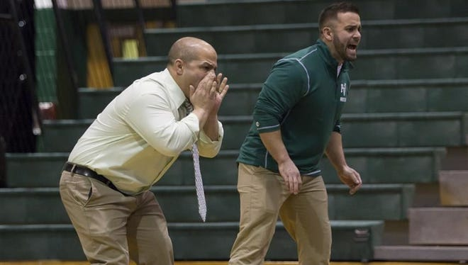 Passaic Valley wrestling coach Joe Benvenuti (left) and valued assistant Brian Kapral.