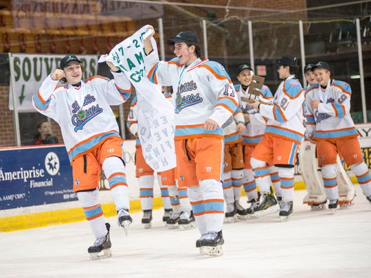 The Detroit Little Caesars take a victory lap around the ice at McMorran Arena after defeating Canton Victory Honda 1-0 in the Silver Stick Finals BAAA Finals match Jan. 7.