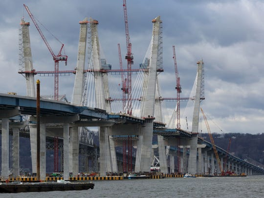 Work continues on the New New York Bridge being constructed
