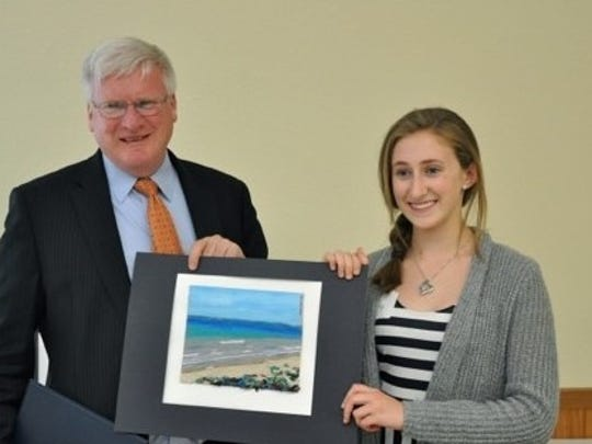 Emily Vallo, a Kohler High School sophomore seen here with U.S. Rep. Glenn Grothman, earned second prize in this year's Congressional Art Competition. As a result, her art will be displayed in Grothman's office in Washington D.C. for one year.