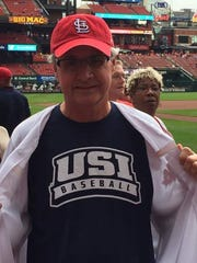 "First pitch ""USI alumnus extraordinaire and trustee Ron Romain threw out the first ball"" is what  USI President Linda Bennett posted on her Facebook page regarding the Oct. 2 Cardinals' game against the Pirates. Clearly Romain brought some good luck as the Cards whipped the Pirates 10-4."