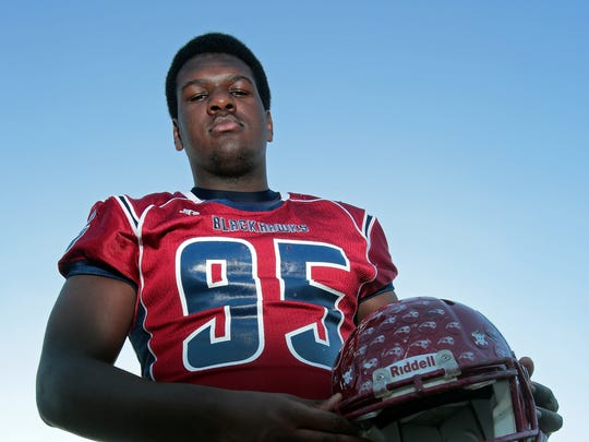 At 6-foot-5 and 270 pounds, La Quinta senior Charles Hays proved he is a force to be reckoned with on both offense and defense this season for the Blackhawks. Photographed in Palm Springs on Dec. 4.