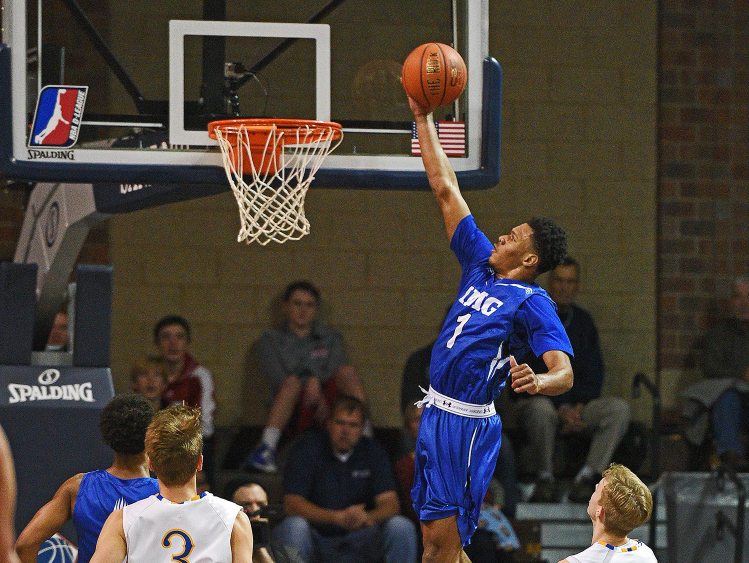 IMG Academy's Trevon Duval (1) goes up for a shot during the Gary Munsen Tournament Championship game against O'Gorman Friday, Dec. 30, 2016, at the Sanford Pentagon in Sioux Falls.