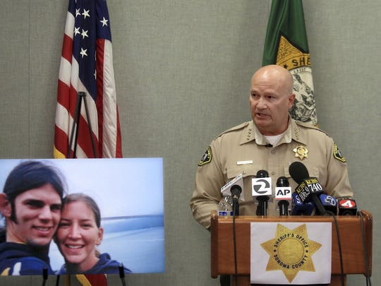In this May 5, 2017 file photo, Sonoma County Sheriff Steve Freitas names Shaun Gallon a suspect in the 2004 double murder case of Lindsay Cutshall, and her fiance, Jason Allen, in Santa Rosa, Calif.