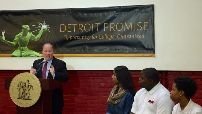 Detroit Mayor Mike Duggan announces the Detroit Promise program that will provide Detroit residents and Detroit high school graduates two years of free community college Tuesday, March 22, 2016 at Youthville on Woodward in Detroit.