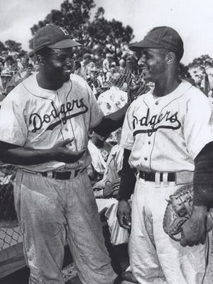Jackie Robinson and Roy Campanella at Holman Stadium.
