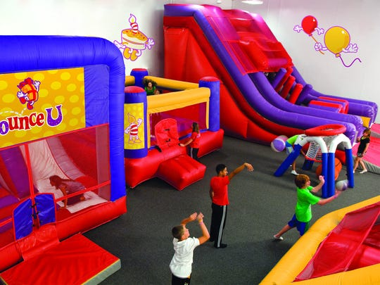 Shooting hoops is just one of the activities at Bounce U.
