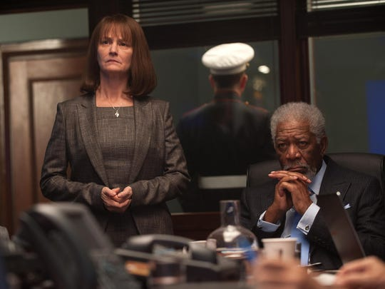 "Melissa Leo, left, and Morgan Freeman star in ""London Has Fallen."""
