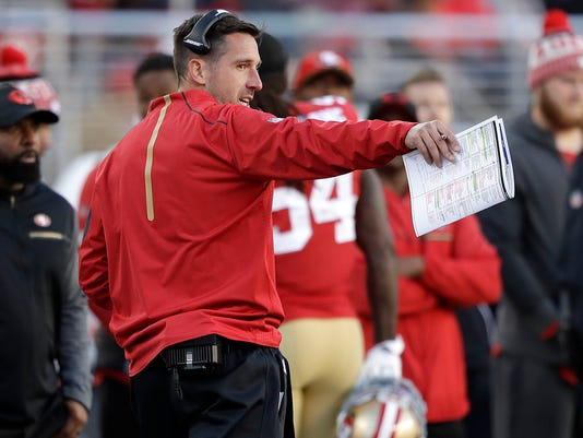 San Francisco 49ers head coach Kyle Shanahan gestures during the second half of an NFL football game between the 49ers and the Arizona Cardinals in Santa Clara, Calif., Sunday, Nov. 5, 2017. (AP Photo/Marcio Jose Sanchez)