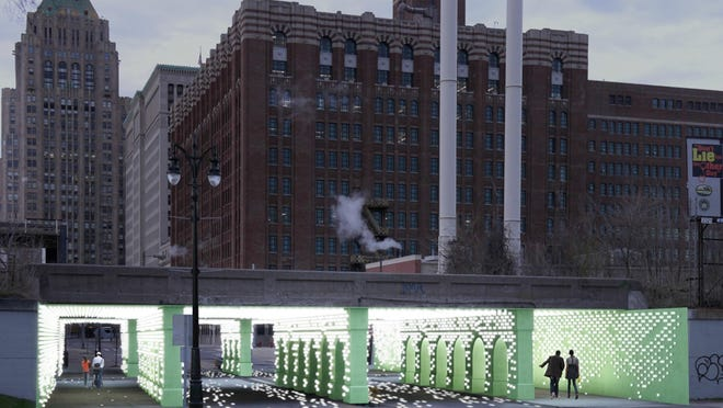 """An artist rendition of """"Reflector,"""" a Cass Avenue viaduct improvement plan by Detroit design company BioLINIA. Two other firms will revamp other viaducts in the city. ( Courtesy of the Reflector Midtown Viaduct project )"""
