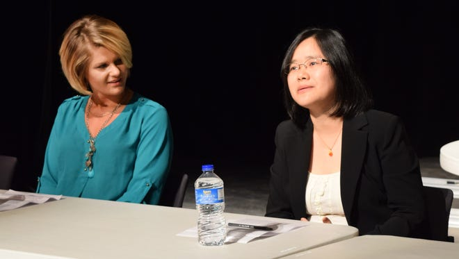 """LSU of Alexandria student Autumn Mitchell (left) and professor Min Wu were among four panelists sharing their stories Tuesday for """"Women in our Community: Stories of Inspiration"""" at LSUA. The panel celebrated International Women's Day. Karen Riley Simmons and Iviana Stewart also were panelists."""