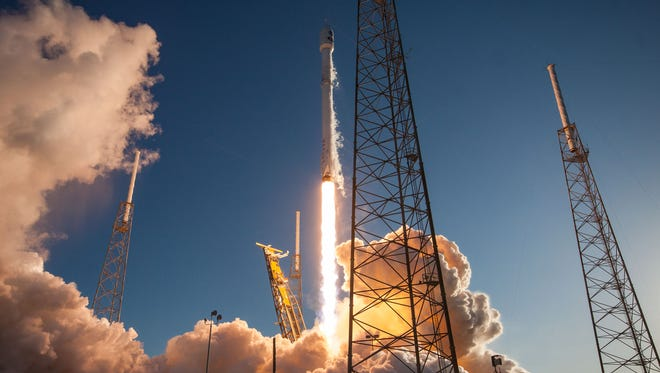 A SpaceX Falcon 9 rocket launches from Cape Canaveral Air Force Station with NASA's TESS spacecraft on Wednesday, April 18, 2018.