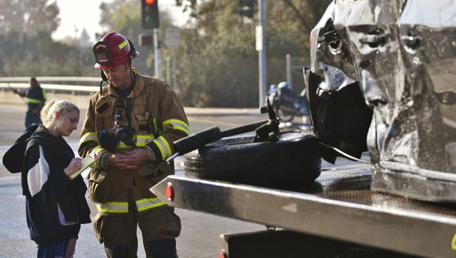 Fire and police responded to a two-vehicle collision near Conyer Street and Mineral King Avenue Tuesday morning.