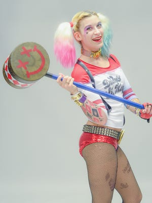"Virginia Burton cosplays as Harley Quinn from the forthcoming ""Suicide Squad"" movie."