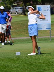 Erynne Lee tees off on No. 18 at Battle Creek Country