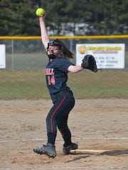Marshall's Sierra Rupp throws home during action earlier this season against Lakeview.