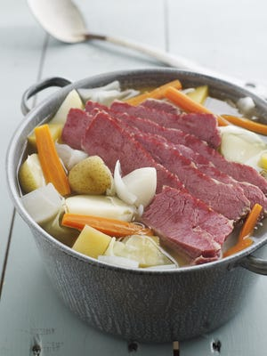 "Corned beef takes its name from the ""corns,"" or large grains of salt, in which the meat was originally cured. Corned beef and cabbage is an Irish-American — not traditionally Irish — dish for St. Patrick's Day."