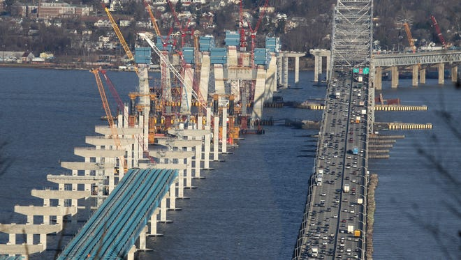 Traffic slowly rolls across the Tappan Zee Bridge as construction continues on the replacement bridge March 4.