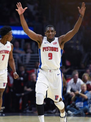 Pistons guard Langston Galloway (9) celebrates hitting a three-point shot during the fourth quarter of the Pistons' 95-87 win on Saturday, Oct. 28, 2017, in Los Angeles.