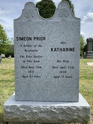 A new headstone marks the graves of Northampton Township settlers Simeon and Katharine Prior at Harrington Cemetery in Cuyahoga Falls. It was made by Akron Monument & Granite. [Photo courtesy of Kenneth Clarke)
