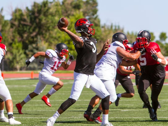 Southern Utah quarterback Patrick Tyler (3) throws