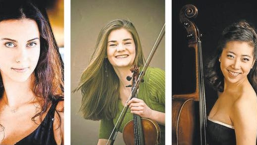 Pianist Ana Petrova, violinist Rebecca Anderson, and cellist Christine Lee perform with the Monterey Symphony
