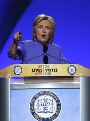 Hillary Clinton speaks at the NAACP national convention.
