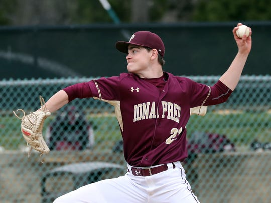 Jack Keenan of Iona Prep pitches to Kennedy Catholic