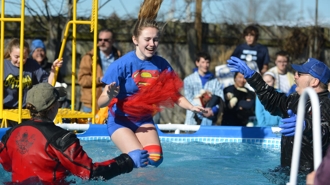 Over 200 take part in 2016 Kalamazoo and Calhoun County 'Polar Plunge' at Bell's Brewery in Kalamazoo to benefit Special Olympics Michigan athletes.