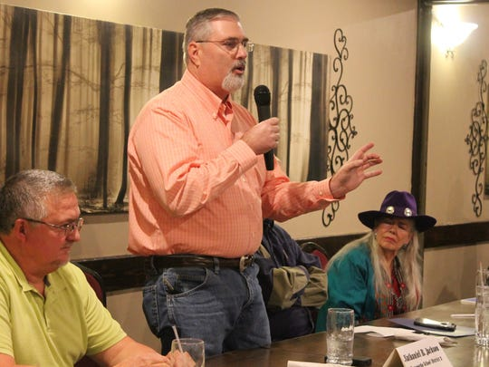 Nathaniel Jackson, candidate for Alamogordo Public Schools Board of Education, speaks to Republican Party of Otero County members on Thursday night.