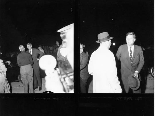 Pres. John F. Kennedy arriving at Palm Springs Airport (4 photos).