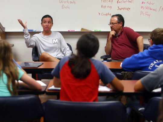 Monmouth University women's soccer coach Krissy Turner and APP reporter Jerry Carino discuss women's sports and media at Write on Sports, a free sports writing camp for middle-school students hosted by Monmouth each summer. August 2, 2018. West Long Branch, NJ