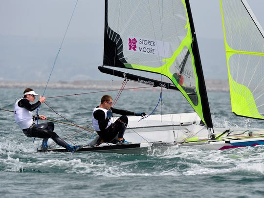 Erik Storck and Trevor Moore of the United States compete in a 49er men's skiff race during the London 2012 Olympic Games at Weymouth.