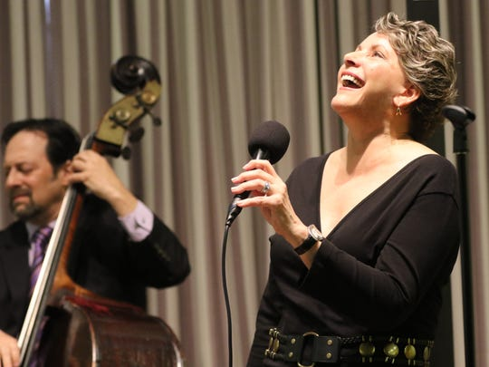 "Jazz vocalist Laura Hull and bassist Steve LaSpina perform ""Songs My Mother Sang"" at the Mahwah Public Library on Sunday. Tomoko Ohno, not pictured, was on piano."