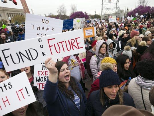 Oklahoma teachers strike at the state's capitol.