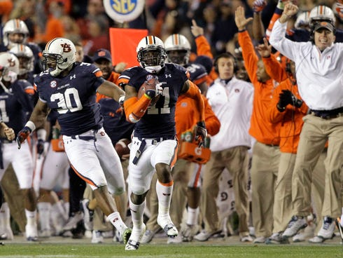 Chris Davis' return of a missed field goal attempt against Alabama launched the Iron Bowl finish into lore and Auburn into contention for a BCS national championship berth.