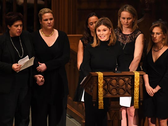 Jenna Bush Hager makes remarks surrounded by more Bush granddaughters during the funeral for their grandmother Barbara Bush.